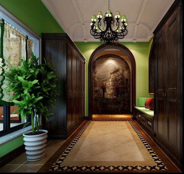 美式乡村风格的色彩以自然色调为主,绿色、土褐色最为常见;壁纸多为纯纸浆质地;家具颜色多仿旧漆,式样厚重;设计中多有地中海样式的拱。