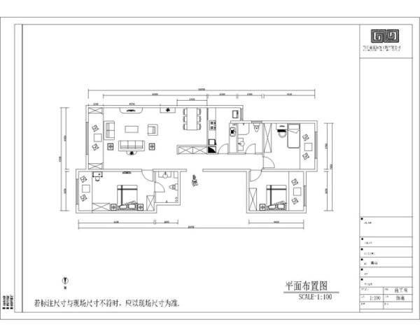 龙湖时代天阶(148平)三居室户型平面布置图展示