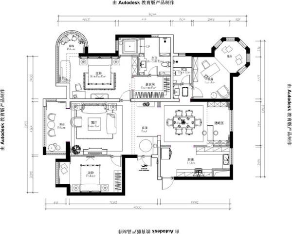 乐府江南(170平)三居室户型--美式风格平面布置图展示