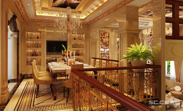 餐厅的实用性比较强,酒柜餐桌,相互融洽,同样的顶面欧洲壁画处处体现。