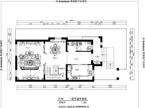 孔雀城(380平)联排别墅--美式田园风一层平面布置图展示