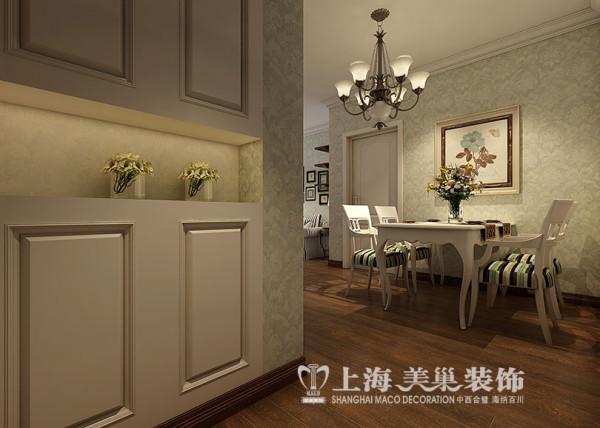蓝堡湾装修89平两室两厅美式效果图案例——入户门,家居自由随意、简洁怀旧、实用舒适;暗棕、土黄为主的自然色彩;