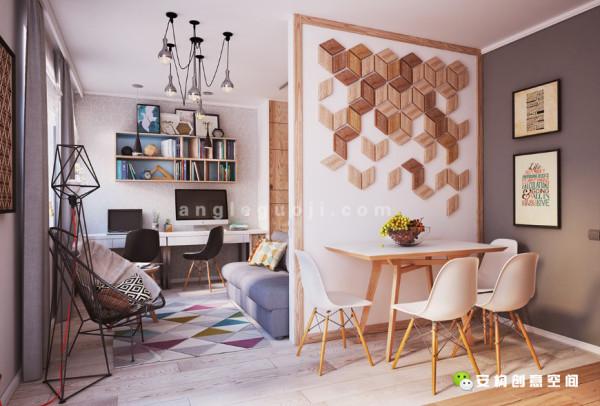 公寓有40平方米的面积,位于乌克兰利沃夫。这个公寓楼里,你会找到光纤元素、几何图形。设计师将规则菱形木材装饰成餐厅背景墙,别有一番风味。