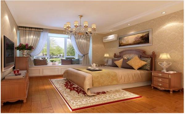 卧室床头背景墙和整体空间结合,浅紫色的壁纸再搭配水晶吊灯,将整个房间的典雅气息展现的淋漓尽致。