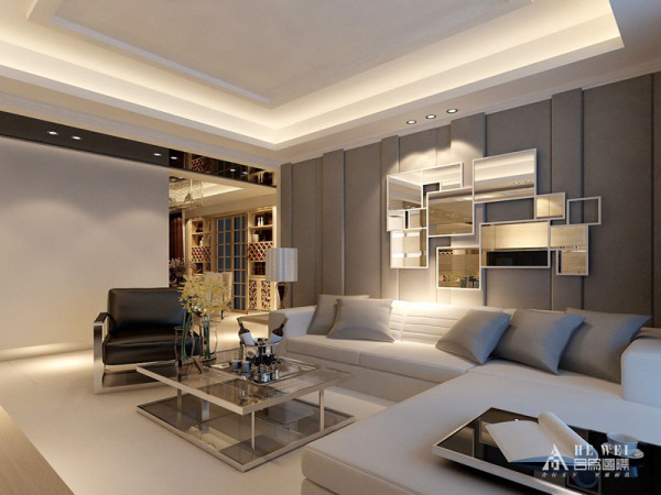 客厅运用黑白灰三色,相互柔和,简单稳重。