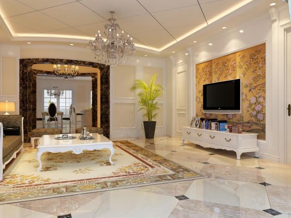 客厅:珠帘水晶灯,让客厅的气氛跳跃起来。电视背景墙,使面积不大的客厅有了层次区分,背景墙上白色罗马柱,起到了画龙点睛的作用,使白色墙体既不会孤立,又体现出了贵气典雅。