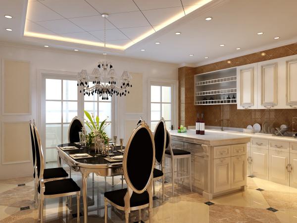 通过橱柜和餐厅的处理使得空间扩大。外向双开推拉门将中厨很好地区分,欧式银色的餐桌和椅子,量身定制设计并现场打制欧式橱柜,衬于餐桌后面做厨房的背景,餐厅和西厨开放式布局,线条流畅,处处呈现落落大方的气势