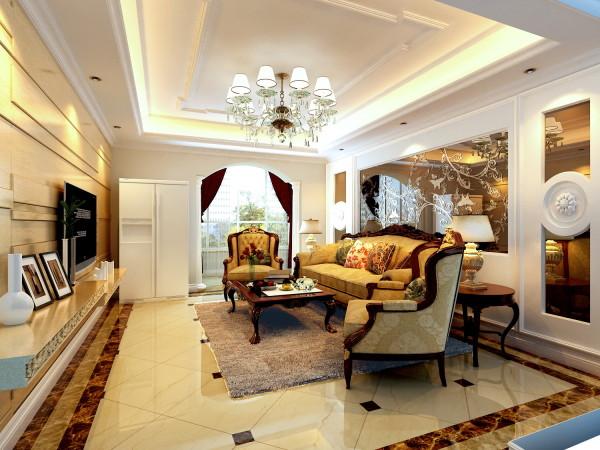 客厅:地面拼花式设计,彰显大气之美,顶部采用金箔壁纸,增加富贵之气。