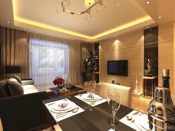 客餐厅地面采用800*800抛釉砖,客餐厅里的吊顶是以回字形吊顶为主带有发光灯池