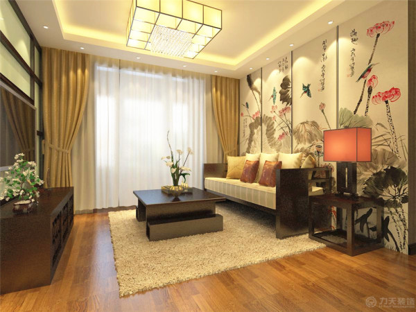 本案为友爱东里小区4室3厅2卫1厨145㎡,本案风格定义为中式风格,这种风格非常讲究空间的层次感与跳跃感。