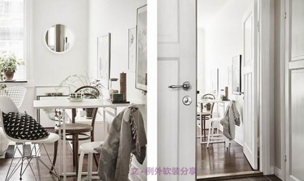 家具选材也非常简单,桌椅造型轻巧,有些镂空设计使得视觉感受更加轻松。黑白灰的搭配清爽简约、和谐融洽,让空间极富文艺气质,同时适当加入的绿植让整个居室更加具有生活气息,在色彩上也相对丰富。