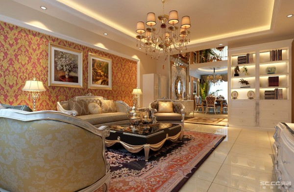 经典欧式风格,以米黄色为主色调,设计重点在电视背景和吊顶设计上,线条的多层次设计和欧式家具协调统一