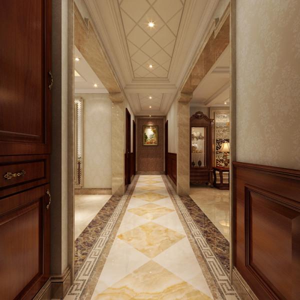 走廊精美的拼贴瓷砖与菱形的吊顶设计不仅美观,而且很好的划分了区域。