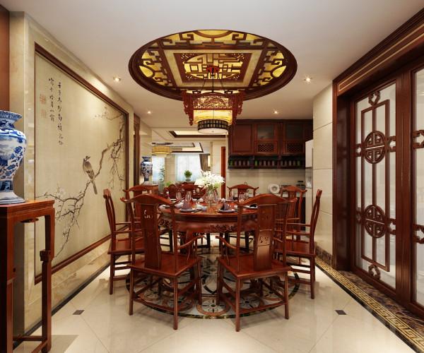 餐厅设计效果展示,餐厅的墙面用中国风的传统装饰画做修饰,顶部做造型顶。