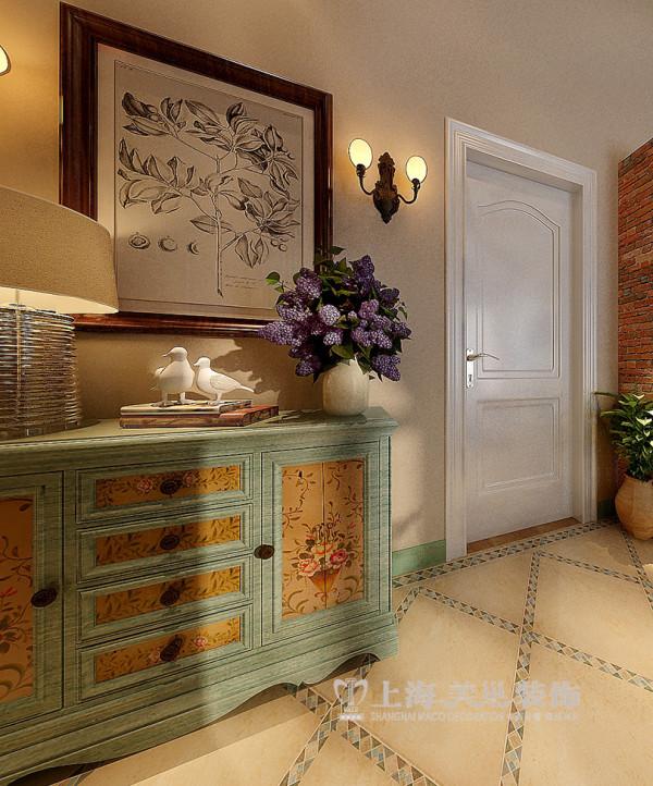 郑州建业森林半岛挑高45平一室一厅装修地中海效果图案例——入户玄关