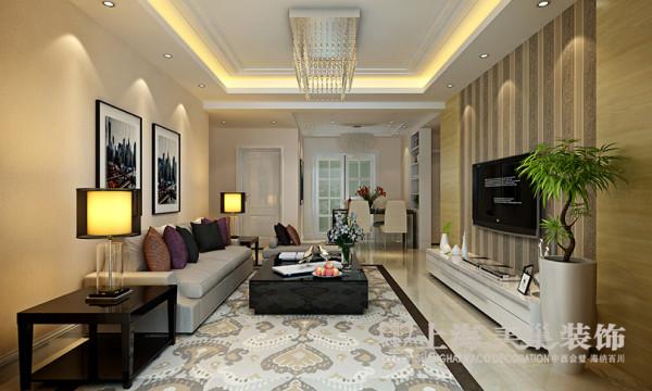 鑫苑世纪东城三室两厅113平方现代简约风格——客厅全景效果图