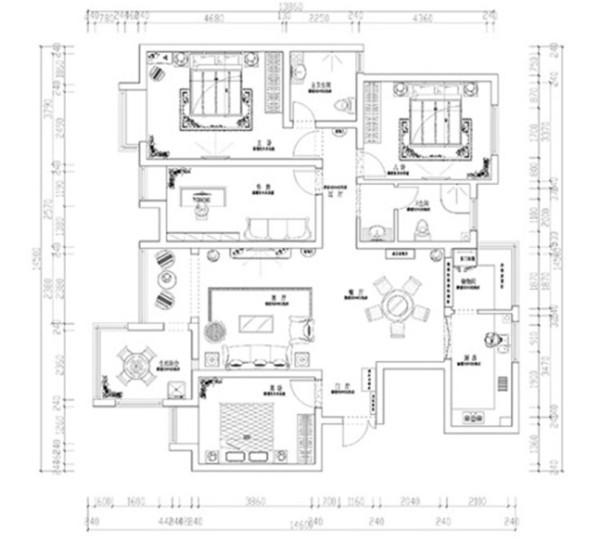 农大家属院180平居室装修设计案例四室两厅平面户型布局图