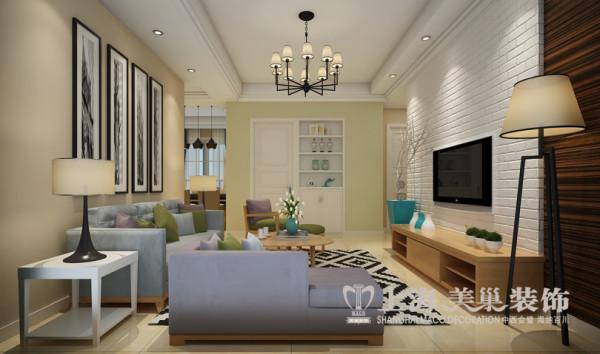 天骄华庭两室两厅装修案例89平方北欧风格效果图——客厅全景