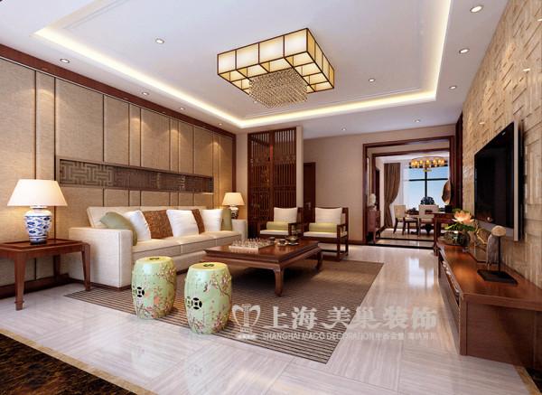 蓝堡湾200平新中式装修四居室案例效果图——客厅全景效果图