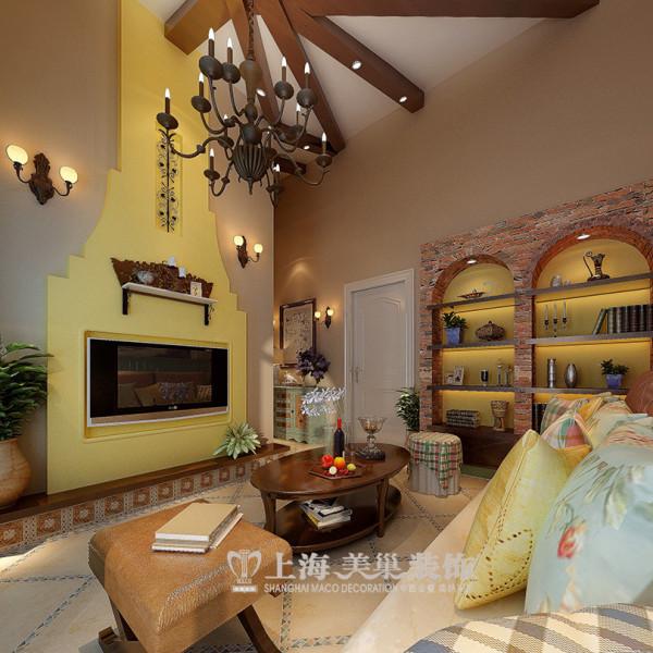 森林半岛地中海装修挑高45平1室1厅案例效果图——壁橱酒柜设置