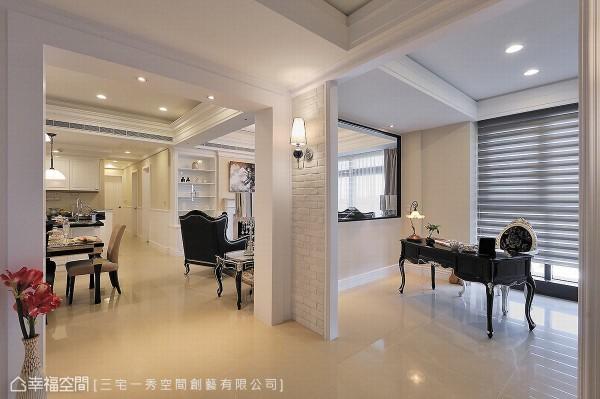 破除既有墙面造成的封闭视野,让舒适采光能够自然漫入,循序铺陈宽适明亮的迎宾器度。