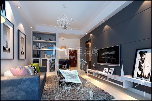 在主卧和客厅的隔墙嵌入装饰柜,来增加储物面积。