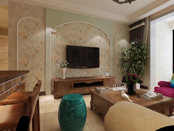客厅的电视墙设计效果展示,电视墙两侧采用石膏线做造型.