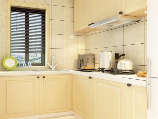 厨房的设计是较偏现代的设计。次卧的设计采用了淡蓝色。