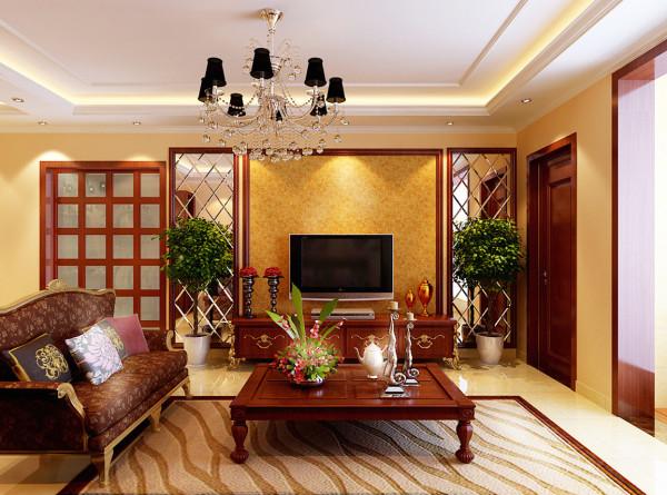 合肥实创装饰|欧式田园风格-135平米三居室装修-合肥装修-客厅装修效果图