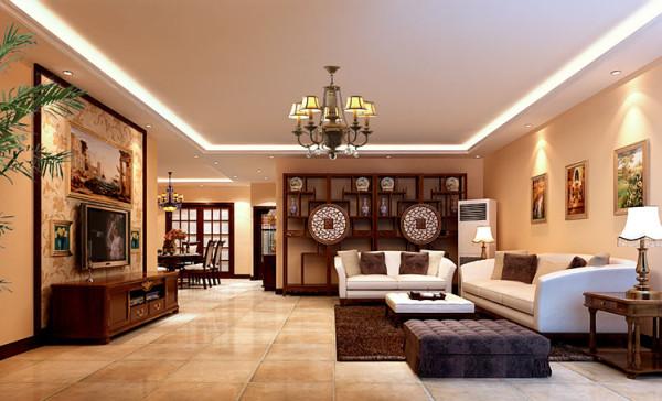 宽敞舒适的客厅配合深色复古地砖卓显稳健