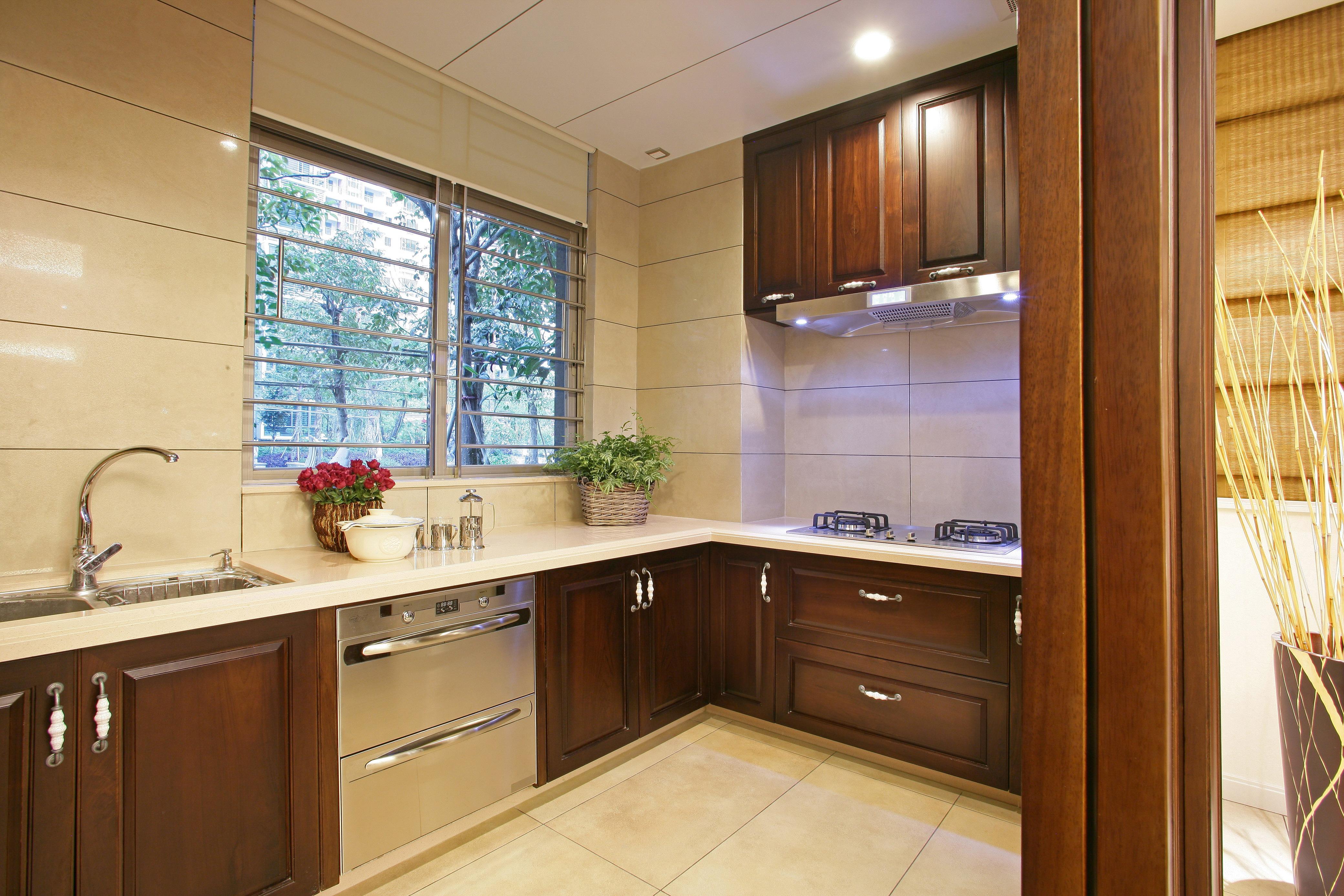 现代中式装修设计别墅装修室内设计厨房