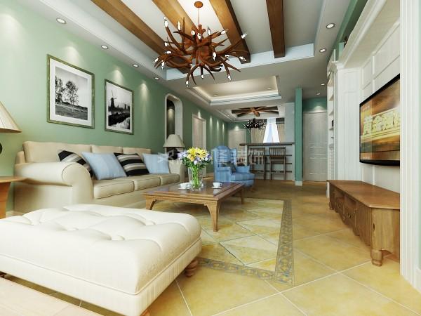 以温馨港湾作为设计主题,客厅以灰绿色为基调,搭配线条简洁舒适的美式家私,背景墙上的装饰及扩大了空间的储物又美观了整体的空间,造型别致的灯具,在空间中产生对话。