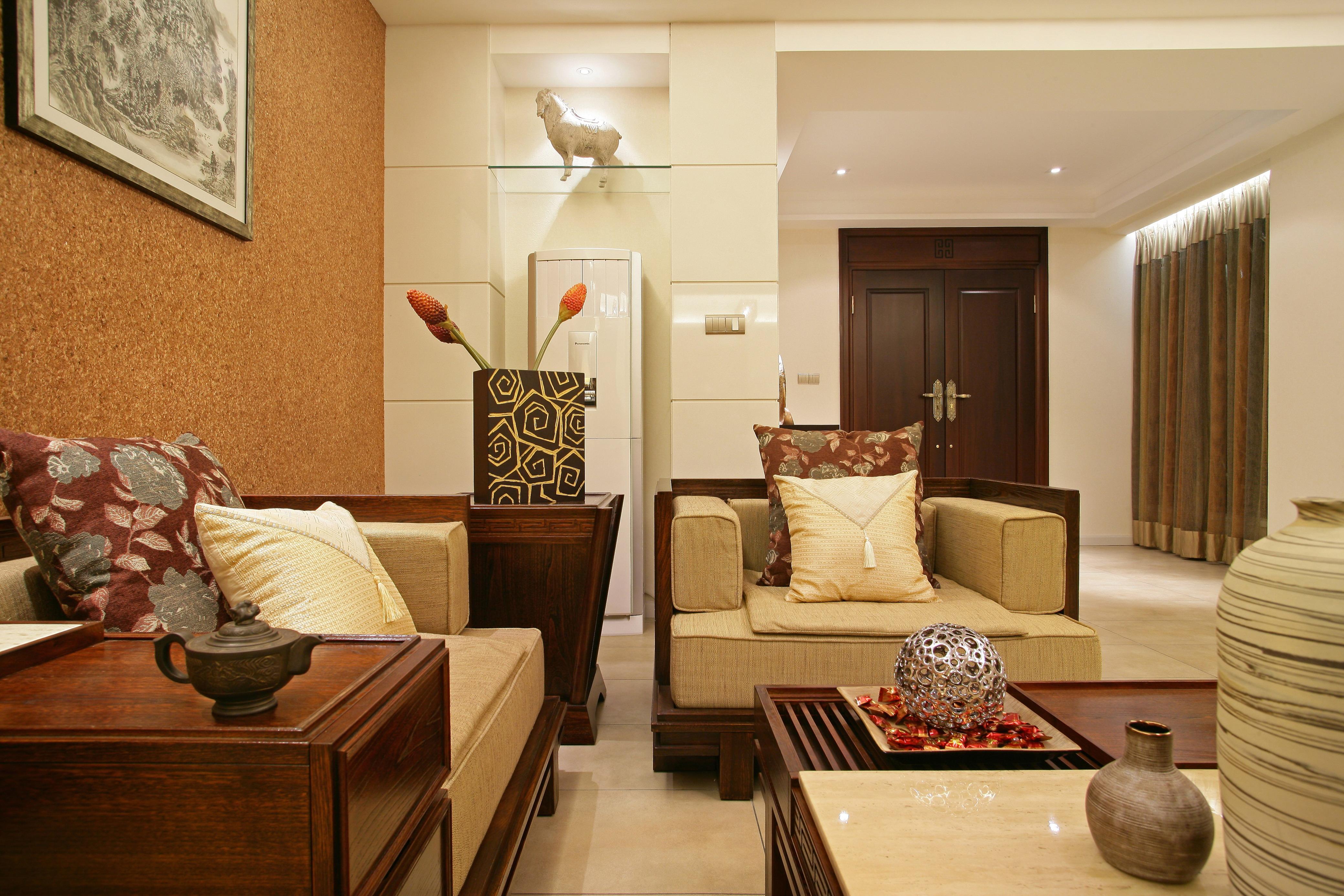现代中式装修设计别墅装修室内设计客厅装修效果图片