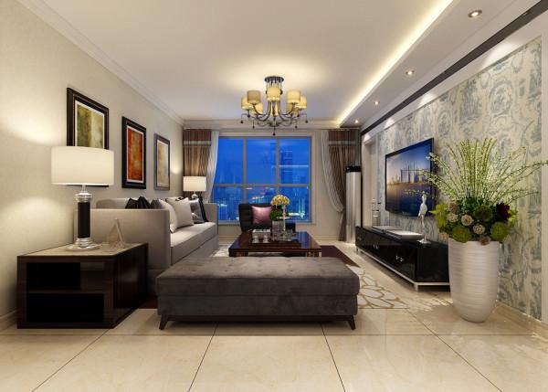 客厅整体设计效果,电视墙位置顶部做回型灯池设计。整体墙角用双层石膏线装饰,简约而不简单。