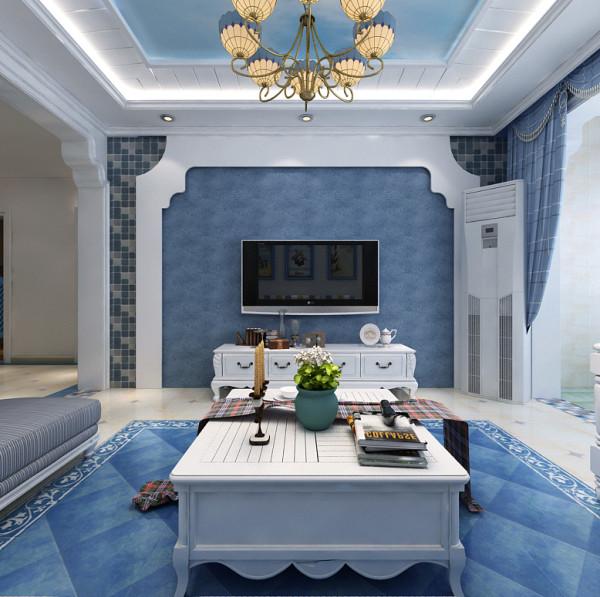 本案例在设计时注重整体色彩渲染,整个空间以蓝色和白色做为设计的主色调,深蓝和浅蓝相互交替补充。