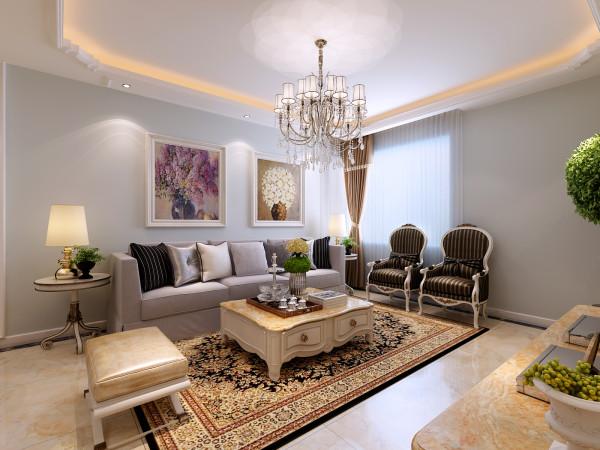 角花的装饰让空间更加丰富,地面瓷砖的铺装让客厅更加大气,颜色的搭配为空间增添协调性。