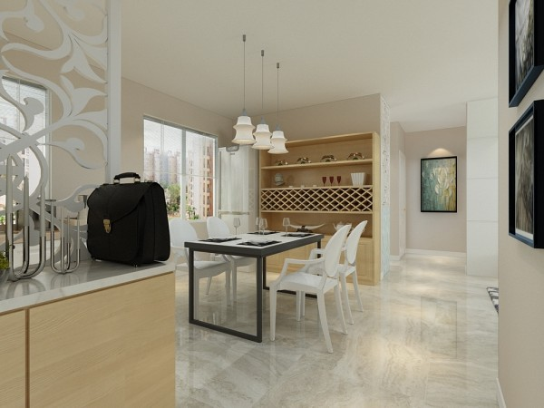 本案为金隅悦城两室两厅一厨一卫82平米户型,首先从入户进入,是就餐区和厨房区域。