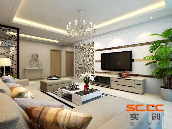 客厅是主任品味的象征,体现了主人品格,地位,也是交友娱乐的场合,电视背景墙采用几何造型,既简单又大方,再加上色彩为茶色的玻璃作为简单的装饰,