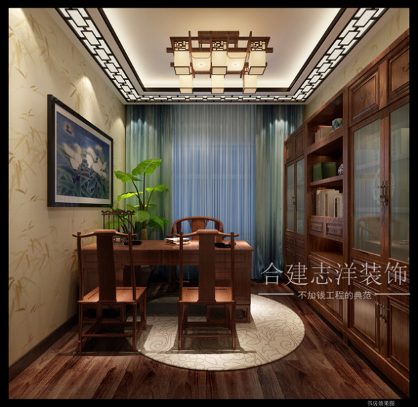 书房从形式上增加了线条的节奏感,感觉更加的富有中国文化的气息。从餐厅带有中国特色的月亮门过渡过来,首先映入眼帘的是靠墙面一条条的木色书架层板,斜靠的背板富于变化,两边适当的做了几块磨砂玻璃门,