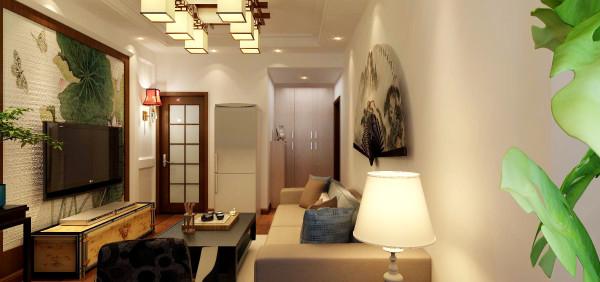 走入客厅,就被浓浓的中国古典气息所吸引,墙上硕大的壁扇上画着优美的山水画,尽显诗人的儒雅之气。顶上的中国式吊灯与之搭配,让中国风的设计理念显露无疑。
