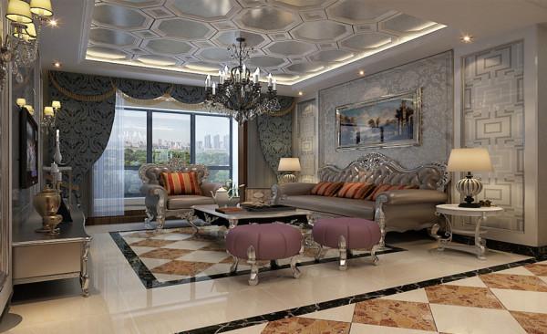 【保利花园】法式风格客厅设计效果图