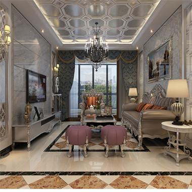 【保利花园】法式风格客厅设计效果图,
