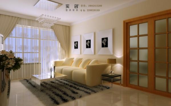 由于沙发背景墙于厨房门在同一方向,所以造型上没有使用过多的装饰,简单的彩色墙面乳胶漆,搭配简约风格的装饰画,加上厨房木质推拉门的颜色材质,让沙发背景墙丰富不单调。