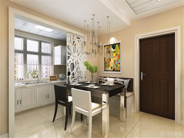 餐区和厨房区域用石膏板造型做隔断。用于分割空间。