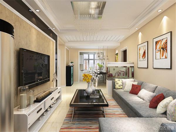 沙发背景墙简单用挂画做装饰。客厅区域回型下反200,内圈做石膏板叠级做装饰。