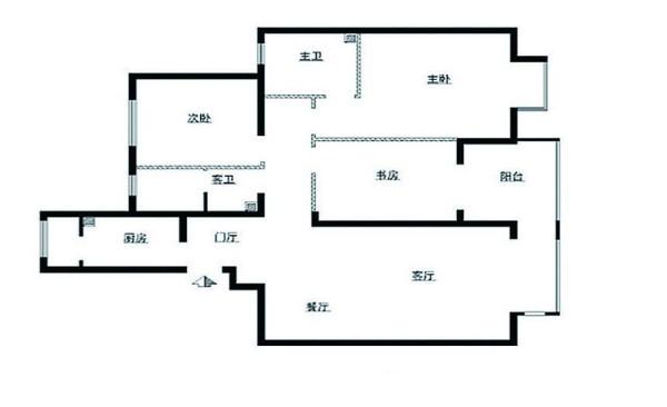阅山公馆143平装修设计原始结构图