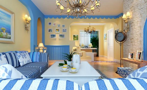 拱形门是地中海的特色,海蓝色的墙面,加以波浪作为装饰,整体感觉更加清新舒适