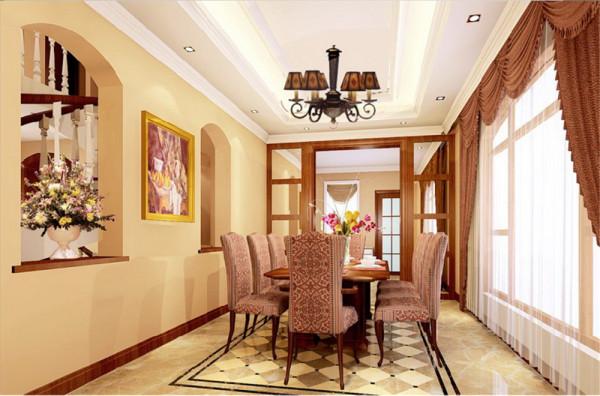 在装饰语言方面,如墙面的拱券,家具木质角腿的卷纹曲线,枝形吊灯等等都是欧式家居的表达方式。