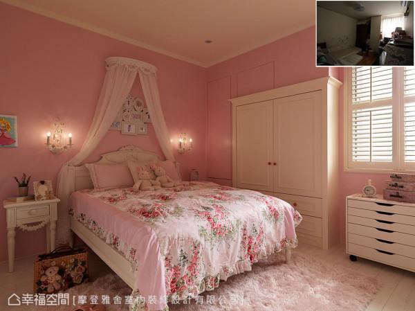 粉红色构筑的女孩房搭配浪漫纱帐与古典壁灯,打造小女孩房梦幻公主房。