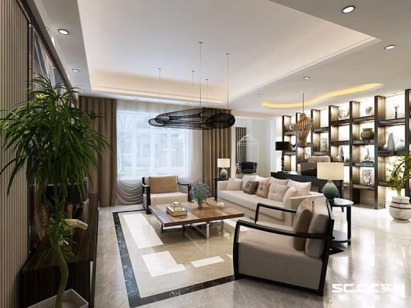 客厅的空间非常大,地面采用浅灰色大地砖,外加中央区域的黑色拼花设计,解决了大空间的空洞乏味。